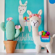 Amigurumi llamas and cactus Crochet Cactus, Crochet Diy, Crochet Gratis, Crochet Patterns Amigurumi, Knitting Patterns, Crochet Baby Toys, Crochet Dolls, Handmade Toys, Yarn Crafts