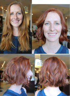 haircut and color - before and after, hair makeover, red hair long to short bob