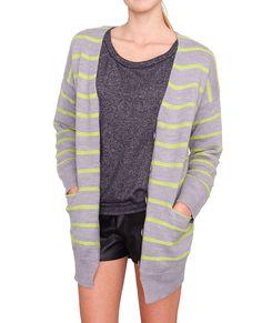 +Neon green stripes on V-neck cardigan sweater