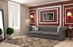 interior with grey sofa. 3d illustration