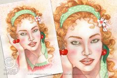 Mesi Illustrati: Giugno #visodidonna #ritratto #illustrazione #bellezza #fiori #frutti #foglie #mesidellanno