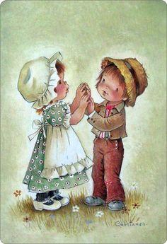 Jongen en een meisje spelen samen..