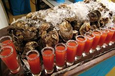 Oysters and bloody mary's ...love this presentation!