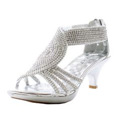 834d3ccf6d2e89 JJF Shoes Angel37 Silver Strappy Rhinestone Dress Sandal Low Heel Shoes-6.5  Silver Dress Sandals