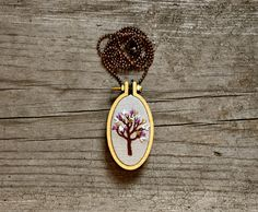 hand embroidery necklace  Little Tree