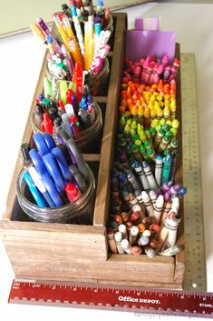 10 Ways to Reclaim the School Room Upcycled rustic pencil caddy School Room Organization, Toy Organization, Organizing Tips, Bathroom Organization, Rustic Toys, Art Caddy, Sunday School Rooms, Home School Room Ideas, Pencil Organizer