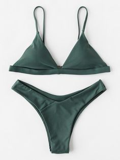Shop Seam Trim Triangle Top With High Leg Bikini Set online. SHEIN offers Seam Trim Triangle Top With High Leg Bikini Set & more to fit your fashionable needs. Bikini Sexy, High Leg Bikini, Bikini Swimwear, Bikini Tops, Tankini Top, Triangle Top, Triangle Bikini, Green Swimsuit, Green Bikini Set