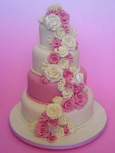 Pink Wedding Cake Photos - Search our wedding photo gallery for thousands of the best Pink wedding Cake pictures. Find the perfect Pink wedding Cake . White Roses Wedding, Wedding Cake Roses, Purple Wedding Cakes, Wedding Cake Photos, Wedding Cakes With Flowers, Beautiful Wedding Cakes, Wedding Cake Designs, Beautiful Cakes, Wedding Ideas