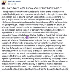 Tuface Benefitted From Past Government Thus Lacks Moral Justification To Protest-Facebook User