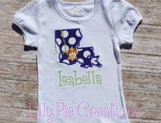 Custom Kids State of Louisiana Mardi Gras Applique Shirt, girls ...