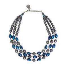 Trifari Women s Necklace Three Row Blue $19.20