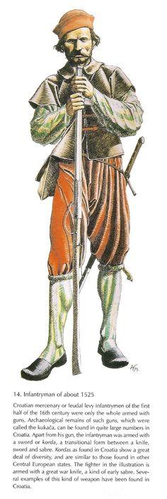 Croatian infantryman, c. 1525