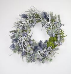 Large Christmas wreath, Silver and blue Christmas wreath, Christmas wreath for front door, Winter wreath for front door, READY TO SHIP
