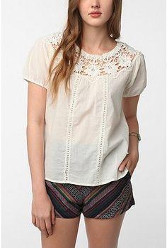 UrbanOutfitters.com > Candela Ziggy Crochet Trim Blouse