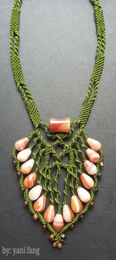 Green macrame necklace and carnelian stones..