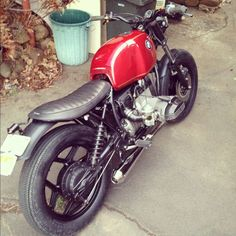 Red BMW R80 airhead bratstyle-inspired custom
