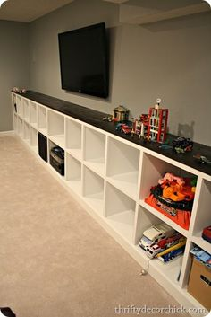 Built in Cubby Storage with a DIY Butcher Block Top: Find step-by-step plans of how to make the DIY Butcher Block Top. Pretty simple, even the kids can help! Use Rust-Oleum Ultimate Wood Stain in one of the many colors available to personalize this idea to fit your space! http://www.rustoleum.com/product-catalog/consumer-brands/wood-care/ultimate-wood-stain/
