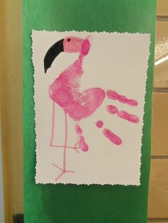 zoo week we made these cute flamingo hand crafts Zoo Crafts, Daycare Crafts, Classroom Crafts, Camping Crafts, Animal Crafts, Toddler Crafts, Hand Crafts, Kids Crafts, Zoo Preschool