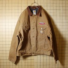 USA製 Carhartt カーハート 古着 ライトブラウン ダックジャケット 裏地ブランケット メンズXL 刺繍 ビッグサイズ aw37