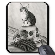 Gothic Skull Drawings | witchs_kittens_cat_skull_gothic_goth_fantasy_art_mousepad ...