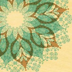 Green mandala - I'd like to find a way to use this as a stencil in my home for decoration Josi, Paper Owls, Illustrations, Pretty Patterns, Tampons, Surface Pattern Design, Gravure, Mandala Art, Sacred Geometry
