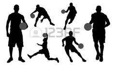 basketball silhouettes on the white background photo