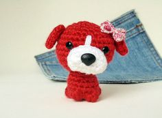 Amigurumi dog with a bow cute crochet dog with a bow. by Owlystore