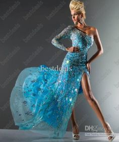 Wholesale 2013 Crystals Sheath Prom Dresses One Shoulder Party Dresses Long Sleeves Evening Dresses 113C08, Free shipping, $190.4-199.36/Piece | DHgate