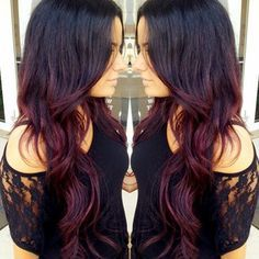 dark purple red ombre hair - Google Search
