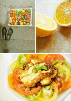 Salade de tomates multicolores, Halloumi et Za'atar : - 3 ou 4 tomates - 1 pack de Halloumi - 1 oignon rouge - 2 gousses d'ail - 1 orange - 1 cuillère à café de sirop d'agave ou miel - 1 cuillère à soupe de jus de citron - huile d'olive - Za'atar