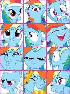 The many faces of Rainbow Dash.  if i could make this as a poster it would be great for the  rainbow party decor