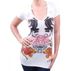 Click on the image for more details! - CHRISTIAN AUDIGIER Ed Hardy Buddha V Neck Womens T-Shirt (Apparel)