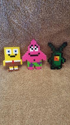 Spongebob, Patrick, Plankton perler beads