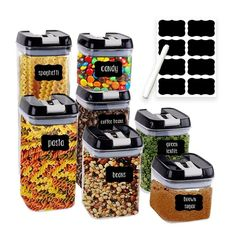 7 Pack PBA-free Airtight Dry Food Storage Organization Containers with solid lids, different capacity size for your choose: 0.5L, 1L, 1.7L, 1.9 Food Storage Organization, Dry Food Storage, Airtight Food Storage Containers, Container Organization, Kitchen Storage, Vegetable Crisps, Recipe Of The Day, Snacks, Chalkboard Labels