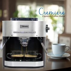 Excel the art of Coffee Making with Tecnora Coffee Maker Featuring a compact Italian Pump for full flavor Extraction, Tecnora Cremiere Espresso/Cappuccino Machine delivers barista quality coffee with every brew.