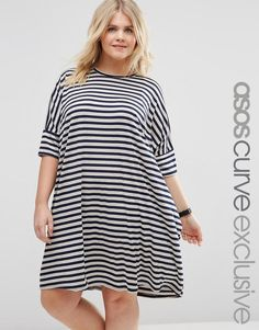 ASOS Curve | ASOS CURVE Oversized T-Shirt Dress In Stripe at ASOS