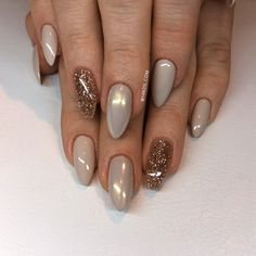Nude golden gold nails