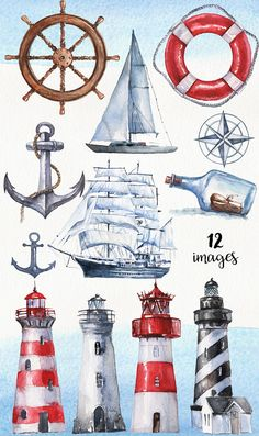 1 Clipart, Famous Lighthouses, Beach Scrapbook Layouts, Nautical Cards, Watercolor Illustration, Handmade Crafts, Watercolor Paper, Doodle, How To Draw Hands