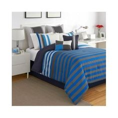 Amazon.com - Modern Teen Boys Blue Striped Comforter Bedding Set with Shams (Full) Includes Scented Candle Tarts -