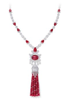 Ruby and Diamond High Jewellery Tassel Necklace by Graff Diamonds for a total weight of carats, Expo Jewellery et Watches Doha 2015 Lanyard Necklace, Necklace Set, Tassel Necklace, Pendant Necklace, Trendy Jewelry, High Jewelry, Women Jewelry, Tassel Jewelry, Rose Gold Jewelry