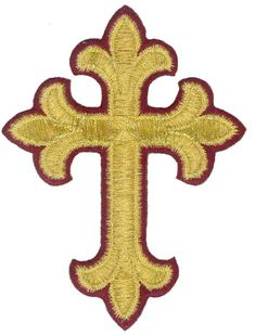 Fleur Cross  - Vestment-Embroidered Gold Metallic-Burgundy Edge Iron On Applique #Unbranded