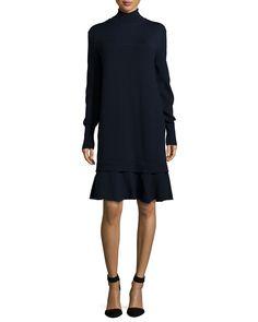 Turtleneck Ruffle-Hem Sweaterdress, Navy, Size: MEDIUM