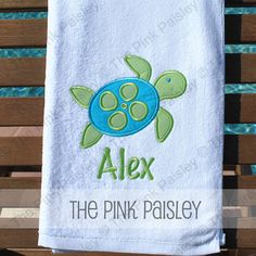 Sea Turtle Applique beach towel by avamom07 on Etsy, $24.99