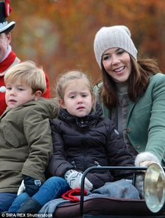 Quality time: It was the first time Princess Mary had taken Josephine and Vincent to see the event