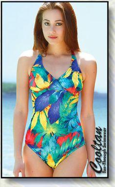 c299e9b0ae Daiquir 1PC Structured Top Suit Tan Through Bikini