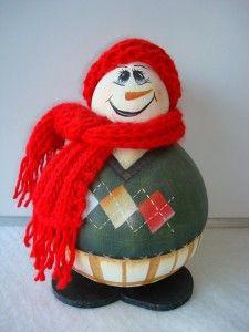 Cabaça pintada (Boneco de neve)