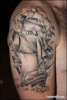 Old School Grey Ink Sailor Tattoo On Right Shoulder