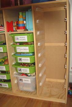 Trofast Toy Storage Solution - diy toy storage plywood box with slide out bins - Toy Storage Solutions, Diy Toy Storage, Garage Storage, Homemade Storage, Storage Ideas, Trofast Ikea, Toy Rooms, Diy Toys, Room Organization