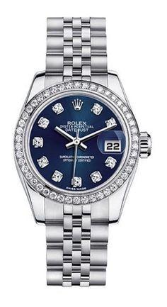 Rolex Datejust Steel Custom Diamond Bezel Blue Diamond Dial Womens Watch - on #sale 57% off @ #TrueFacet