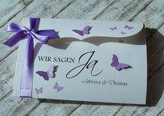 besondere Einladungen zur Hochzeit mit Schmetterlingen in vielen Farben